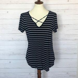 Emory Park | Black & White Criss Cross Shirt